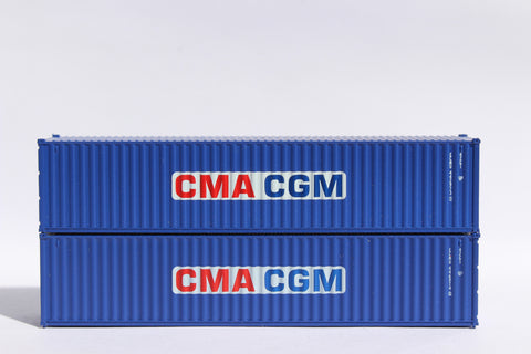 "CMA CGM (rectangle logo) JTC # 405306 40' Standard height (8.6"") corrugated side steel containers"