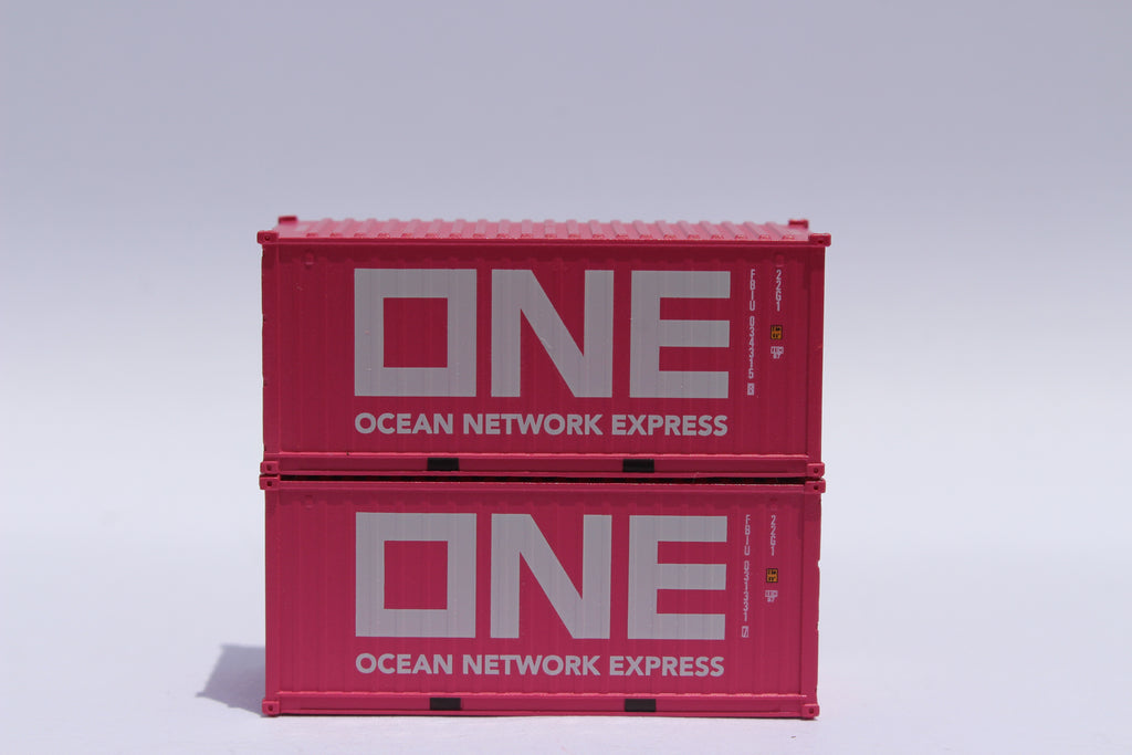 JTC 40/' High Cube ONE Container Magenta N Scale w//magnetic and IBC pins connect