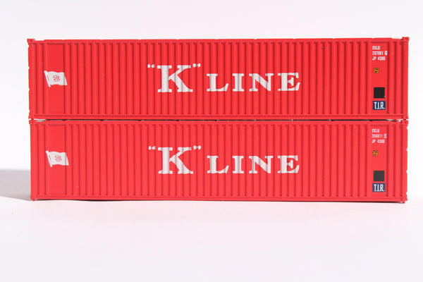 K-LINE (early) Set#2 40' Std. Height 2-P-44-P-2 'Square Corrugated' side containers JTC # 405571