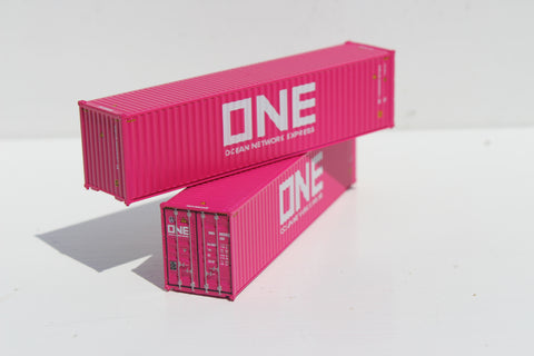 Cherry Blossom Magenta painted ONE 40' HIGH CUBE containers with Magnetic system, Corrugated-side. JTC # 405045