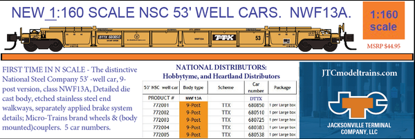 772001  - DDTX 680850 NSC 53' well car. Class NWF13A - 9 Post version