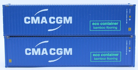 CMA CGM 40' HC, offset logo with green eco container - bamboo flooring box. JTC# 405067