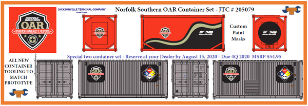 NORFOLK SOUTHERN OAR SPECIAL SET;  NOT SOLD OUT - DISTRIBUTORS TAKING RESERVATIONS; one-20' Std. height container & one- 20 Tank container.  JTC# 205079
