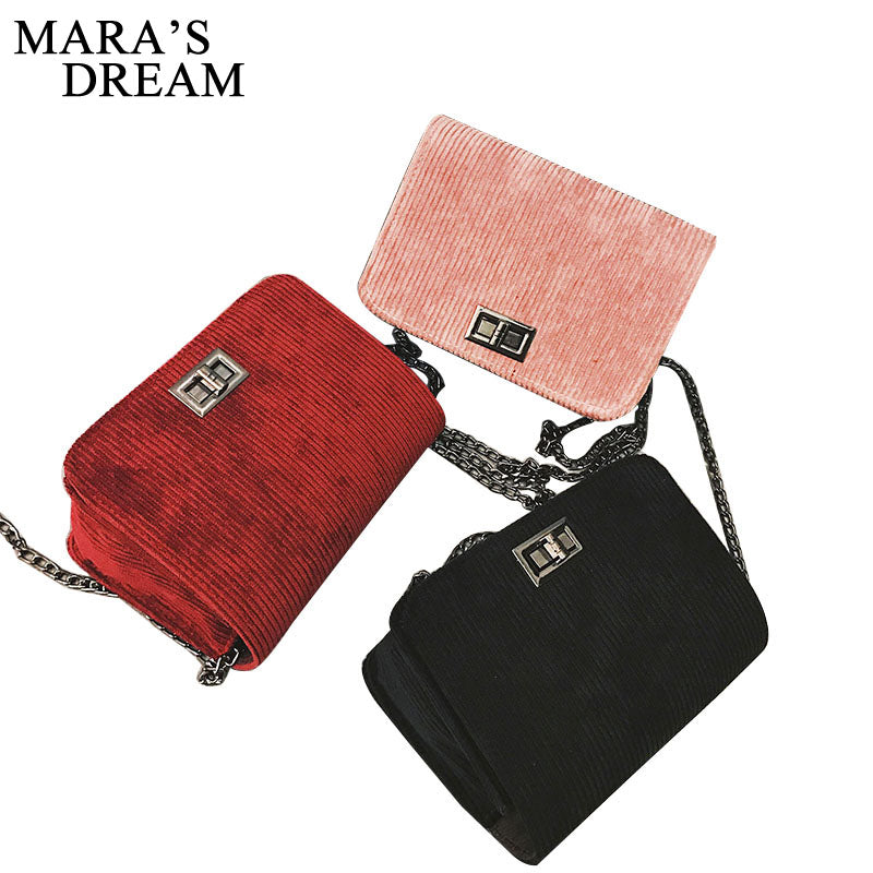 Mara's Dream Designer Sling Shoulder & Crossbody Bags Cotton Hasp Solid Chain Women Bag Handbags sac a main Women Messenger Bags
