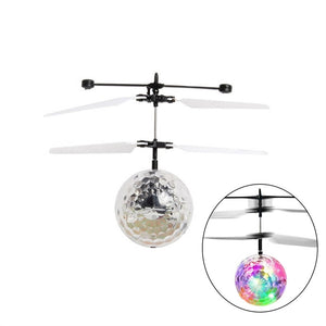 RC Flying Ball Crystal Flashing LED Light Flying Ball RC Toy RC Infrared Induction Helicopter Flying Toys for Kids Teenagers (White)