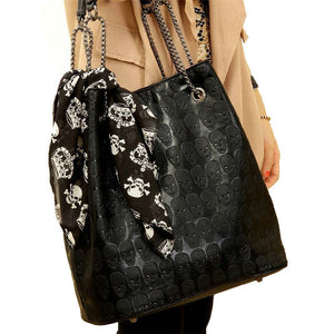 HISUELY 2018 Vintage Skull Shoulder Bags Women Bucket Pu Leather With Silk Female Black Handbags Ladies Casual Chain Tote Bag