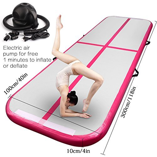 Inflatable Gymnastics AirTrack Tumbling Air Track Floor Trampoline Electric Air Pump for Home Use/Training/Cheerleading/Beach