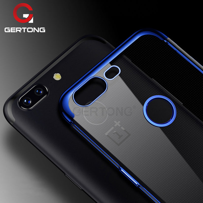 GerTong Electroplate Shining Phone Case for Oneplus 5 5T 6 Ultra Thin Soft TPU Plating Back Cover Shell for One plus 1+5T 1+6