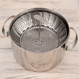 Stainless Steel Vegetable Steamer Basket Fits Instant Pot Pressure Cooker Extendable Handle Design Premium Steamers