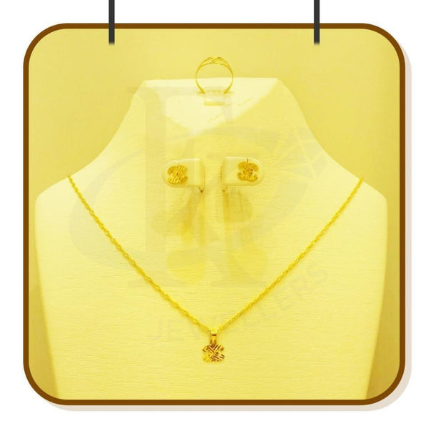 Gold Pendant Set (Necklace Earrings And Ring) 18Kt - Fkjnklst1673 Sets