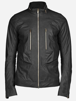K Racer Men's Biker Style Black Leather Jacket