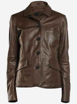 Women Brown Leather Coat