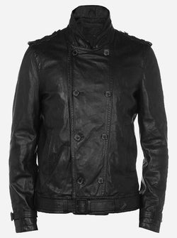 Luxurious Men's Black Reefer Leather Jacket