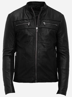 Regular Fit Men's Black Leather Jacket