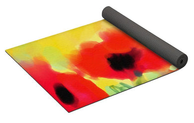 De Luxe Yoga Mat with Red Poppies by Jump In Trend