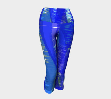 Blue Abstract Yoga Capris design by JumpInTrend