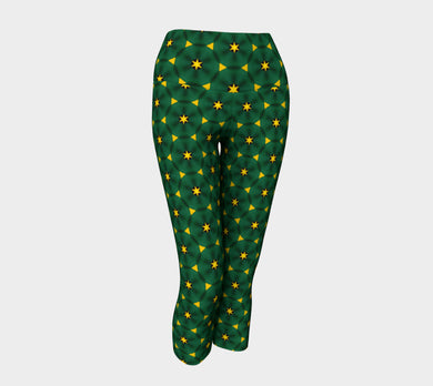 Jamaica Yoga Capris by Jump in Trend - Pattern in Green and Yellow