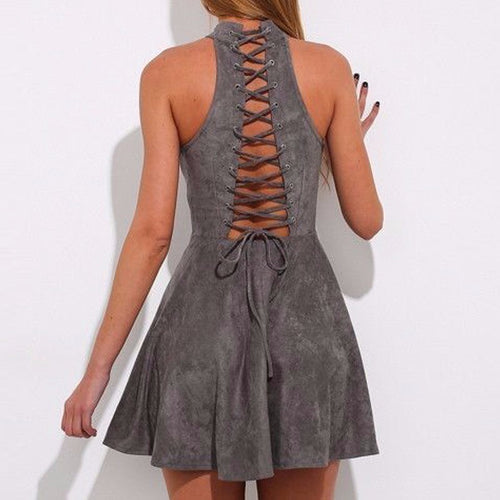 LACE-UP BACK SUEDE MINI DRESS