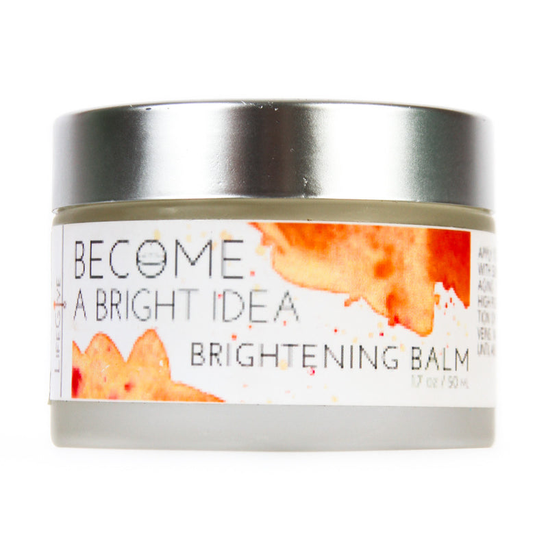 BECOME A BRIGHT IDEA - Brightening Balm  containing a natural form of Tetrahexadecyl ascorbate, a stable form of Vitamin C oil that is 50 times more effective than ascorbic acid.