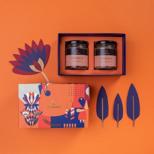 Festive Gift Box - Small ( Set A with 2 Granola jars ) - Brownsalt Bakery