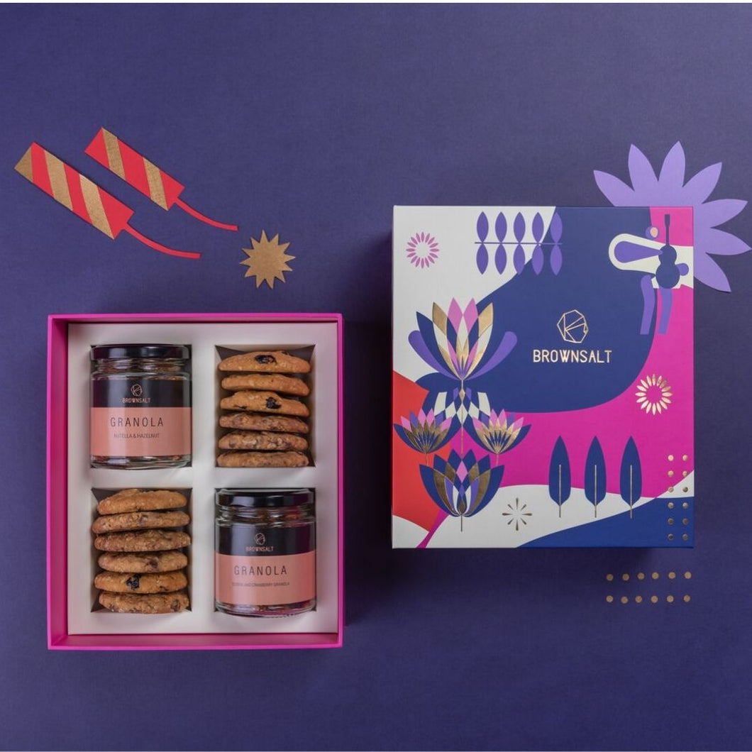 Festive Gift Box - Large ( Set B ) 2 mini granola jars + 12 assorted cookies - Brownsalt Bakery