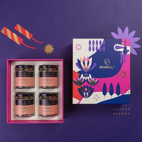 Festive Gift Box - Large ( Set A ) 4 mini granola jars - Brownsalt Bakery