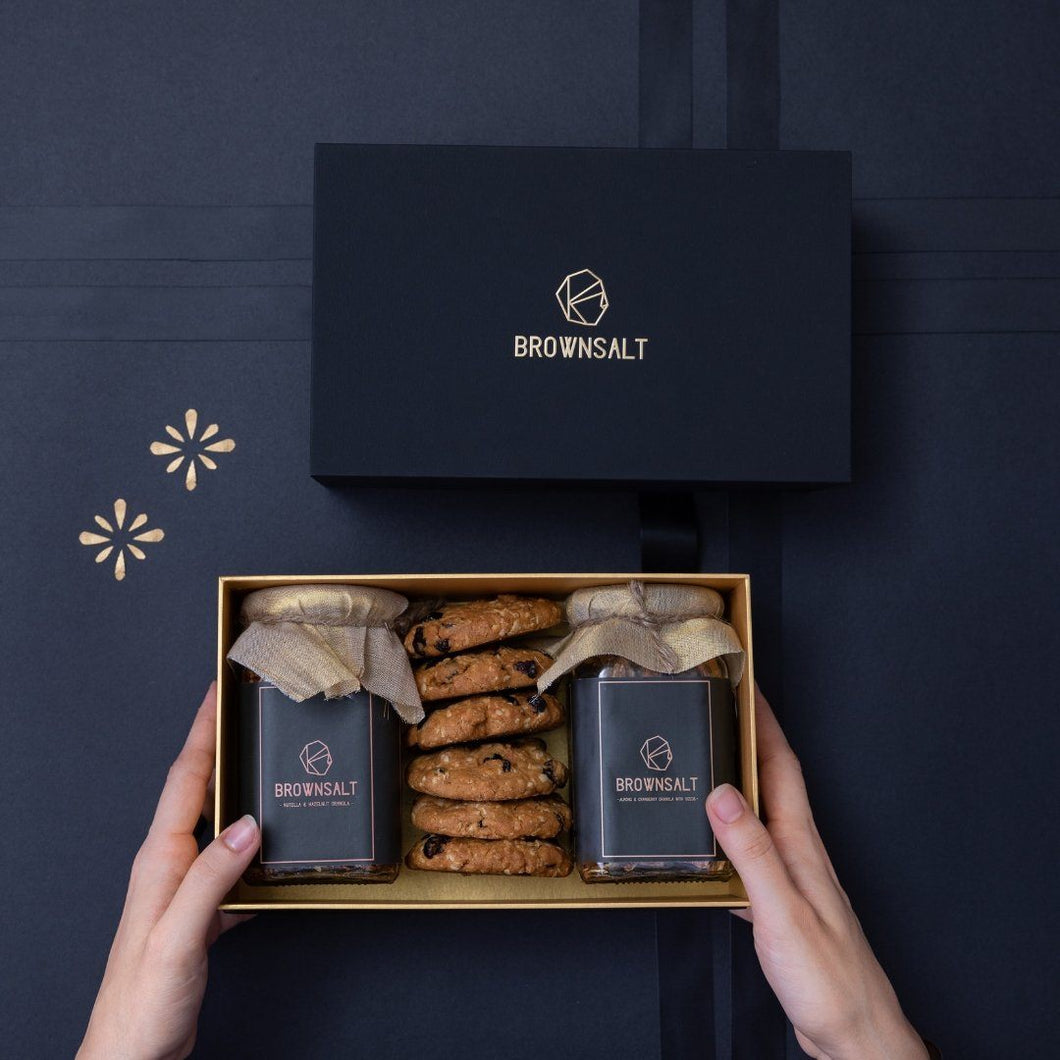 Signature Gift Box B - 2 Big granola jars + 6 assorted cookies - Brownsalt Bakery
