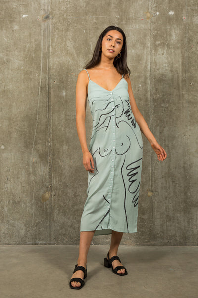 Mint liberated lady printed slip dress