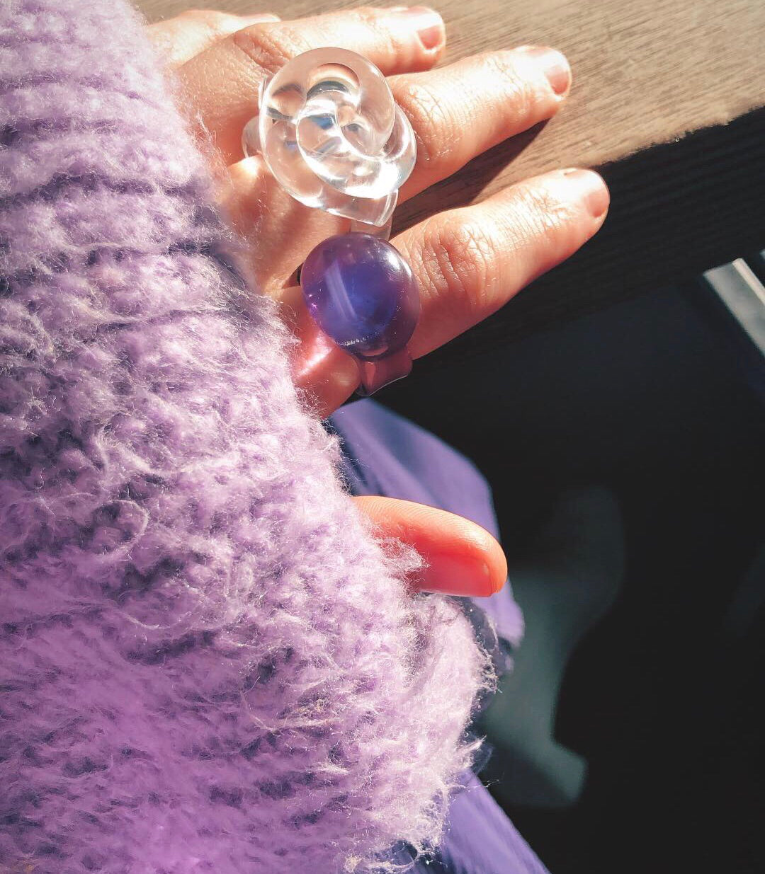 Purple blown glass ring
