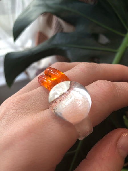Clear blown glass ring