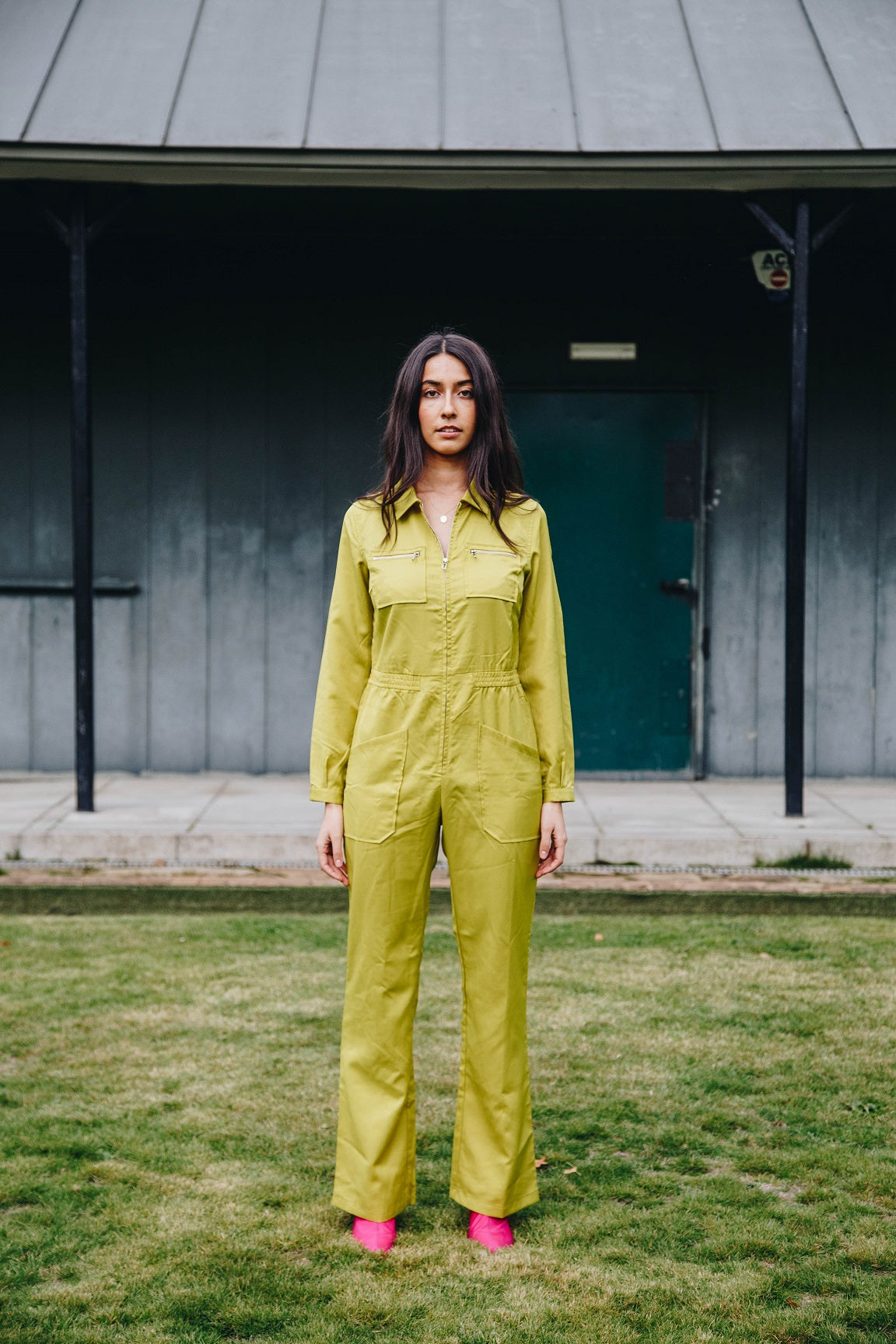 Long Sleeved Green Jumpsuit