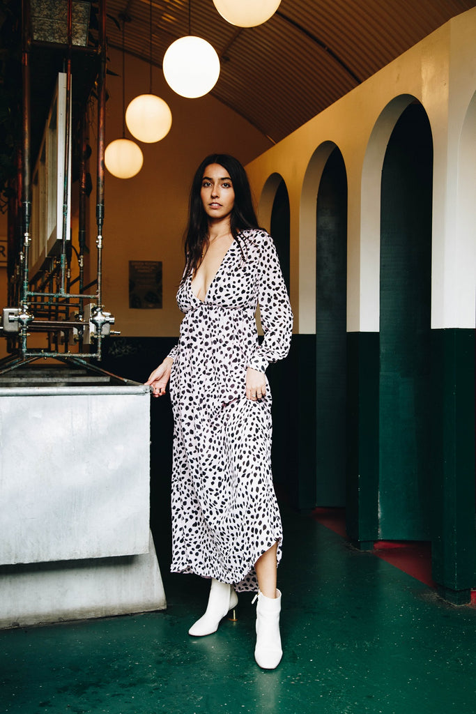 Pink Printed Spotty Maxi Dress