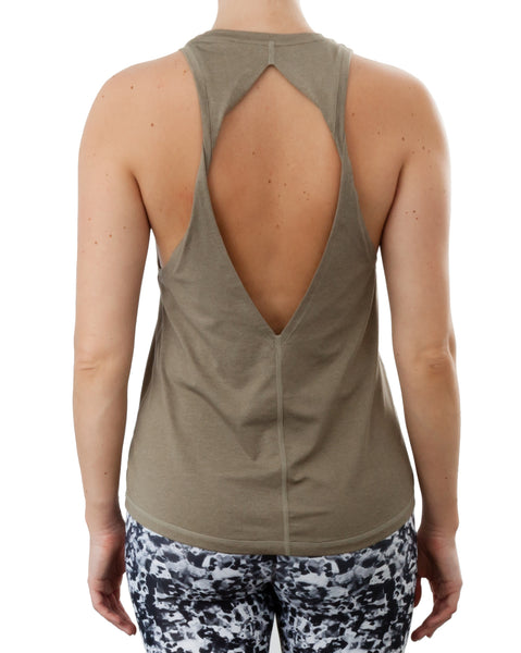 Khaki green keyhole back yoga sports top