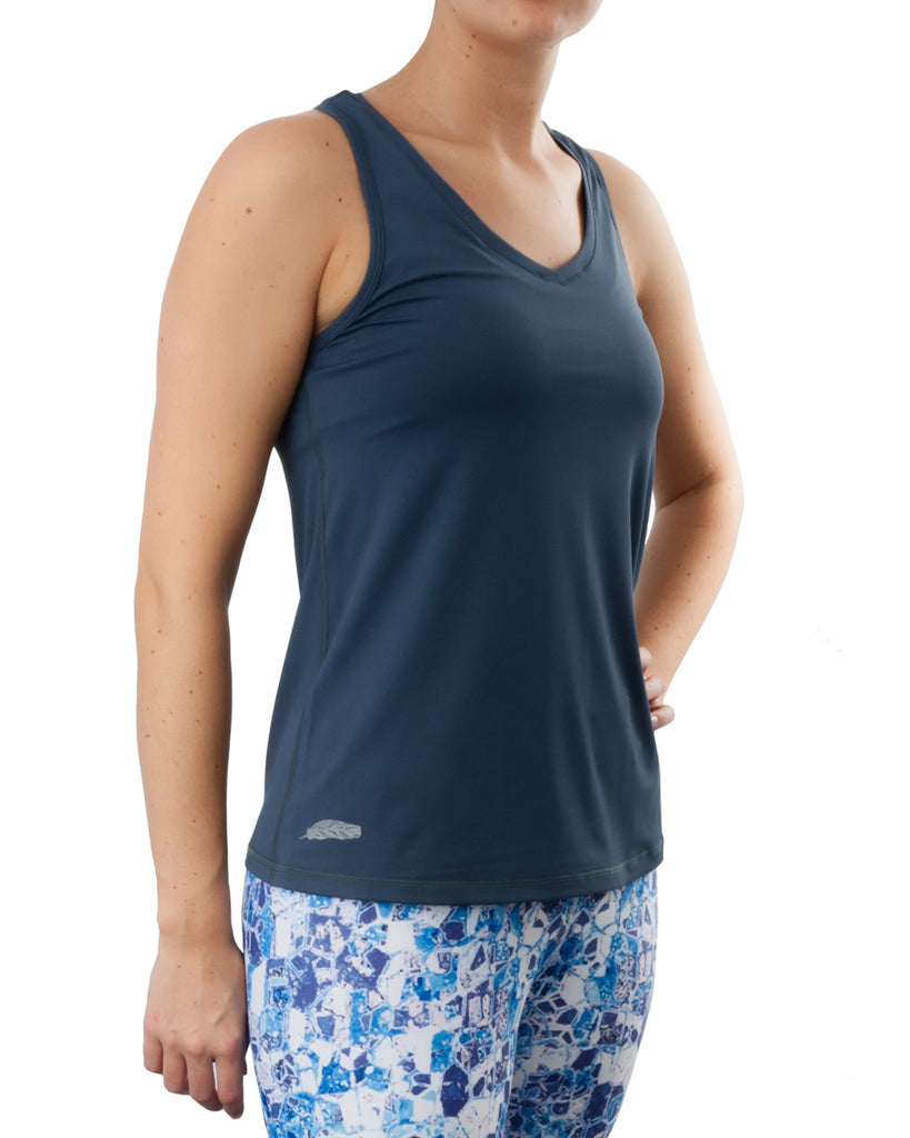 Steel blue racerback sports yoga workout top