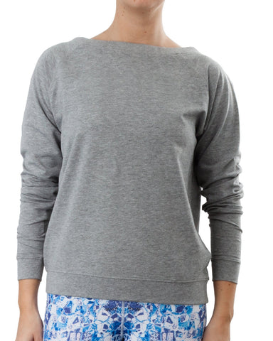 Wide Neck Sweatshirt - Grey