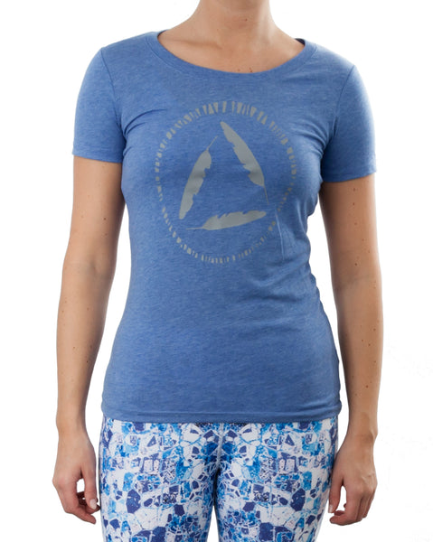 Womens T'shirt with Viny Print - BLUE