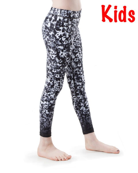 Kids Poppy Black and White Yoga Pants