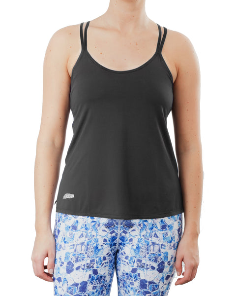 Charcoal grey yoga workout top with cross back cami straps