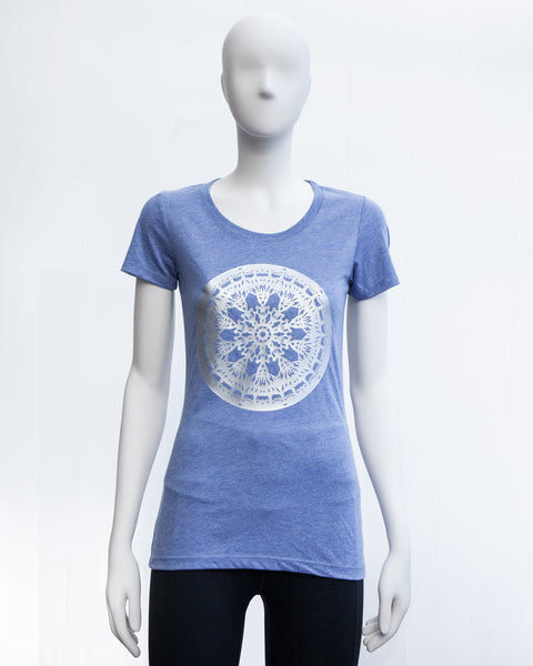 Womens fitted T shirt - REINDEER MANDALA - Blue