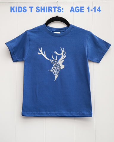 Kids T-shirt -STAG MANDALA - NAVY BLUE