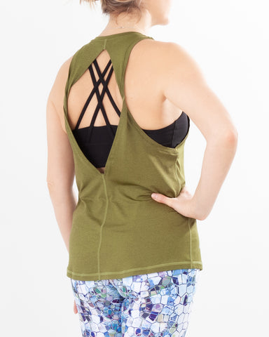Twisted Keyhole Back OLIVE GREEN
