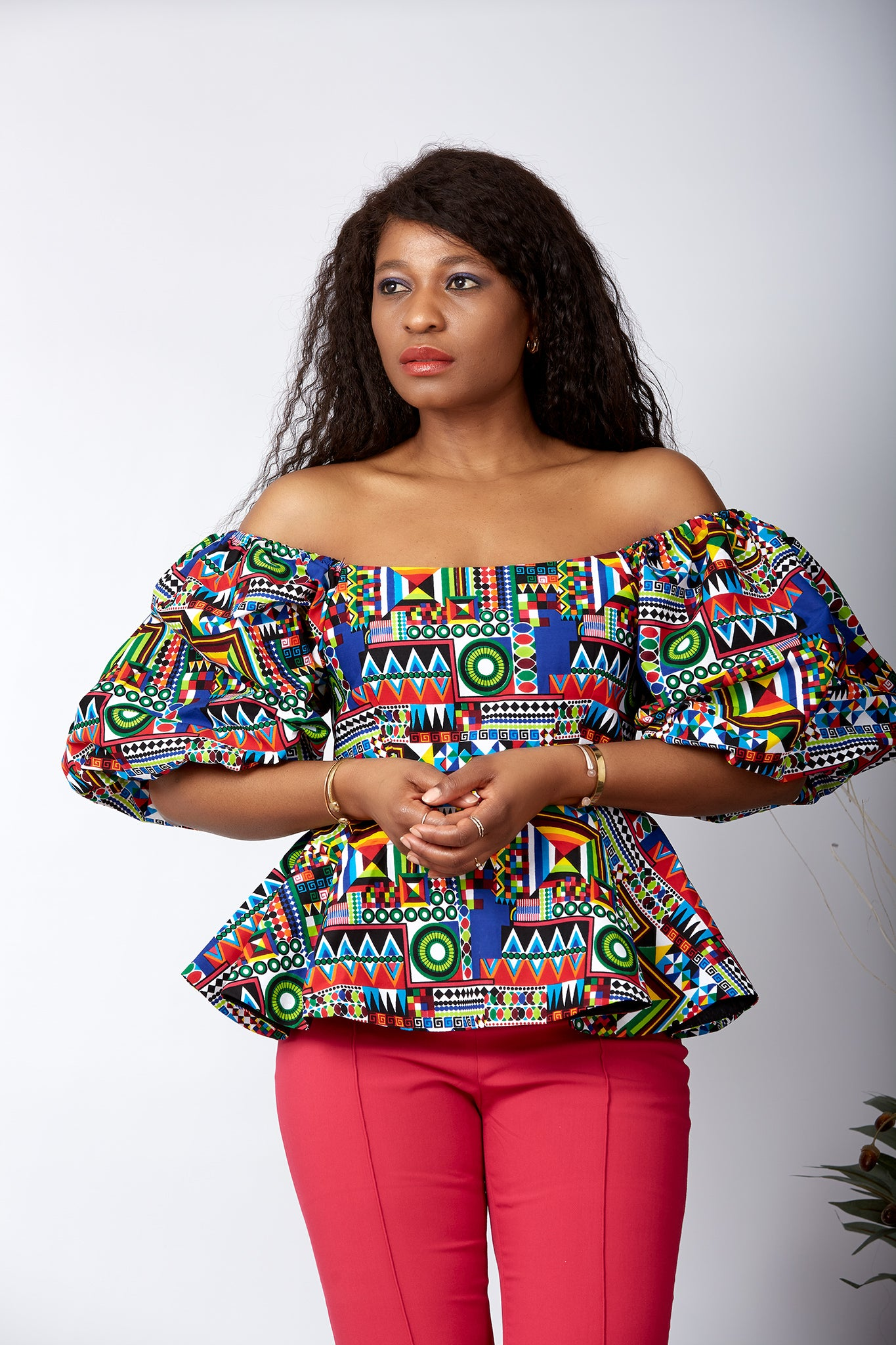 African print blouse, African print off-shoulder top, African print crop top