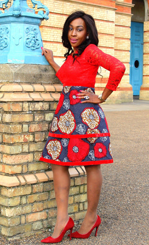 African Print Red Ankara Midi Lace Dress