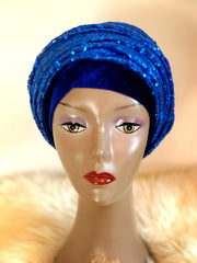 Double Sequin Velvet Turban Headwrap - Lola - ATMKollectionz