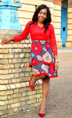 African Print Red Ankara Midi Lace Dress - African Clothing from CUMO LONDON