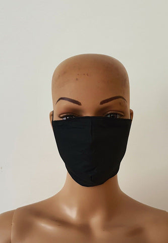 Black Cotton Print Face Mask | Fabric Face Masks - Nia - ATMKollectionz