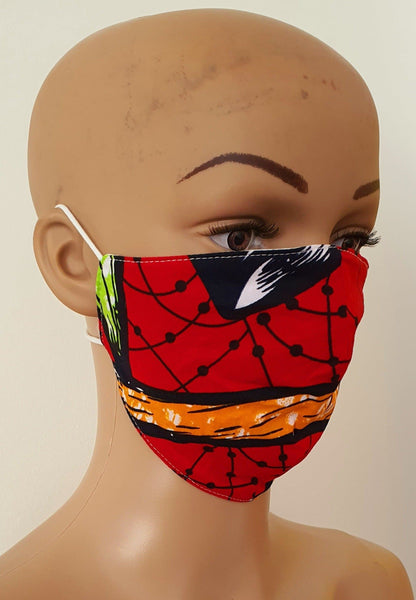 African Print Face Mask | Ankara Fabric Print Face Masks - Nkem - African Clothing from CUMO LONDON