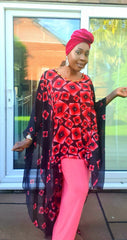 African Chiffon Print Ankara inspired Maxi Dress (5 Colours) - African Clothing from CUMO LONDON