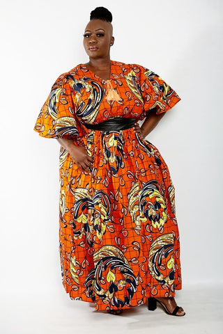 African Print Maxi Dress with Cape Slevees - Orange