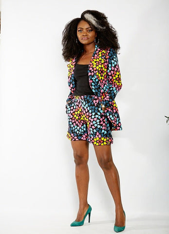 New In Jenny African Ankara Print Jacket and Shorts Set - African Clothing from CUMO LONDON